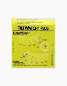 Tiltwatch Plus device tipping indicator and inclinations of different degrees.