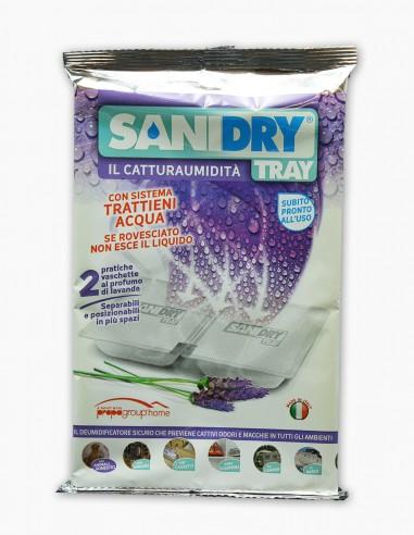 Déshydratant Maison SANIDRY TRY image du sachet avec la barquette, diffuse odeur de lavande.