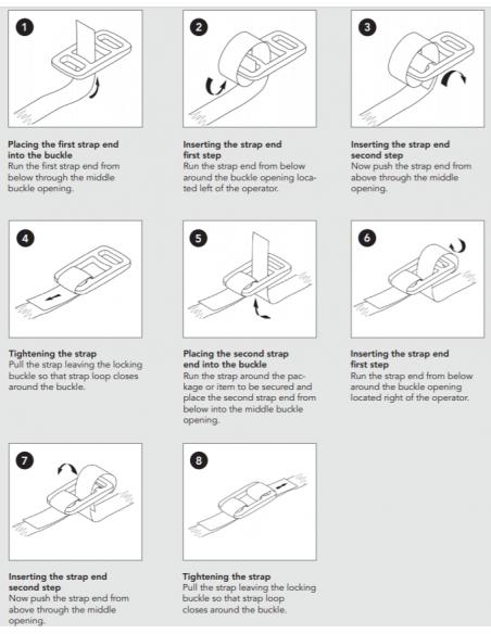Instrucciones para cintas de trincaje con hebillas cerradas