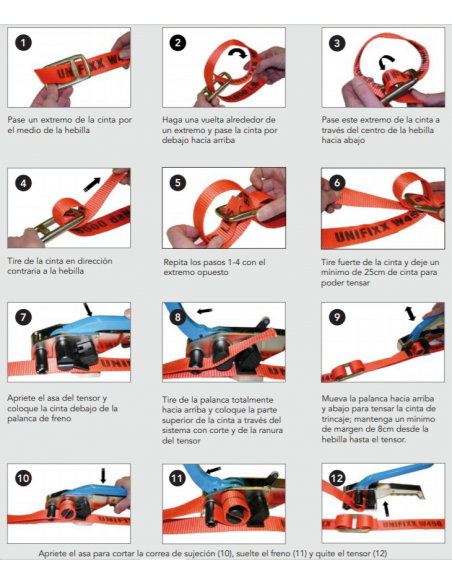 Instructions for using the buckle with the lashing strap