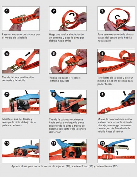 Instrucciones para usar la hebilla con la cinta de trincaje