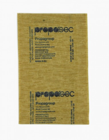 Clay desiccant bags of 6 gr in biodegradable paper, front part picture.