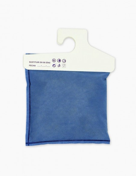Odor absorbent bag with attached hanger to hang the bag in different places like cabinets.